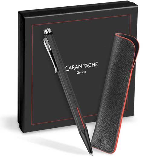 Caran d`Ache Ecridor Racing Black Ballpoint Pen & Slim Pen Case Set