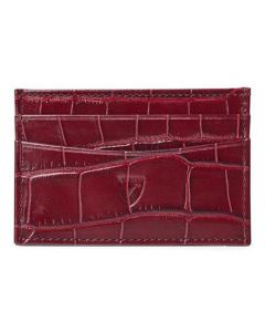This is the Aspinal of London Mock Croc 4CC Bordeaux Card Holder with Navy Suede.
