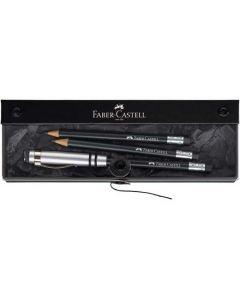 Faber-Castell, Design Perfect Pencil Gift Set. Black, 3 pencils, premium blade sharpener & pencil aluminium UFO extender.