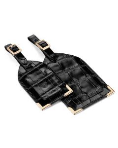 The Aspinal of London Mock Croc Black Set of Two Luggage Tags
