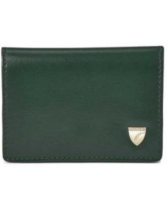 The Aspinal of London Accordion Evergreen and Peony Smooth Card Holder with Zip.