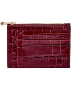This is the Aspinal of London Bordeaux Mock Croc Double Sided Zipped Card & Coin Holder.