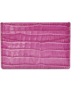 This is the Aspinal of London Mini Croc 4CC Hibiscus Pink Card Holder.