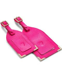 The Aspinal of London Silk Lizard Penelope Pink Set of Two Luggage Tags