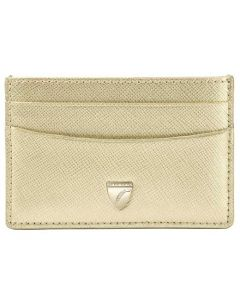 The Aspinal of London Slim Gold Saffiano Shield Credit Card Holder 4CC