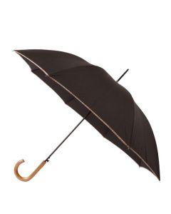 The Paul Smith Black Signature Stripe Wooden Handle Large Umbrella