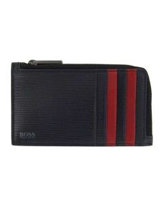 The Hugo Boss Navy and Red Monogram Coin Case 5CC