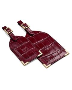 The Aspinal of London Mock Croc Bordeaux Set of Two Luggage Tags