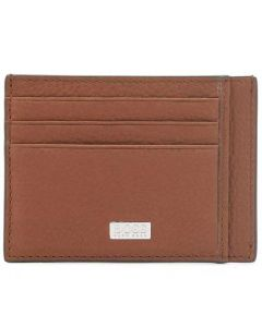 This is the BOSS Crosstown Soft Grain Light Brown Card Holder 6CC.