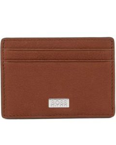 The Hugo Boss Light Brown Italian Grained Leather Card Holder and Money Clip