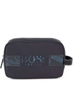 This is the BOSS Recycled Nylon Navy Logo Artwork Wash Bag.