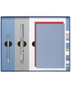This is the Caran d'Ache Ecridor Retro Palladium-Coated Ballpoint Pen, Pencils & HAY Notebooks Set.