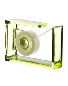The Lexon, Roll-Air Tape Dispenser made with Lime Green PMMA Crystal Acrylic. A contemporary addition to any office.