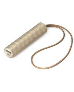 The Lexon, Fine Tube Light Gold Aluminium Power Bank features a slender cylindrical body, smoothly brushed on one side and engraved with a series of grooves on the other.