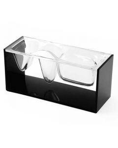 The Lexon, Liquid Desktop Organiser made with black & transparent PMMA acrylic. Reasonably sized and lightweight, contemporary fluid motion design with three compartments for your stationery.