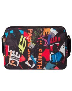 The Paul Smith, Polyester Cycle Glove Print Messenger Bag features a computer printed design and leather trim