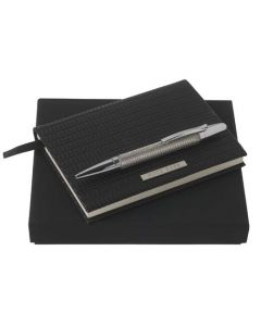 The Hugo Boss Fuse A6 notepad and ballpoint pen set comes in a presentation box.
