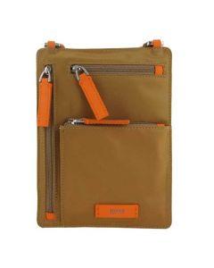 Medium Beige Nylon Envelope Bag with Contrast Zips