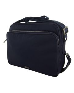 The Hugo Boss Tamson navy polyester messenger bag has a large front compartment.