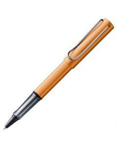 The LAMY, AL-Star, Bronze Aluminium Rollerball Pen, featuring a soft aluminium body and ergonomic grip.