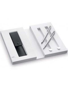 LAMY Logo Brushed Stainless Steel Ballpoint Pen and Mechanical Pencil Set.