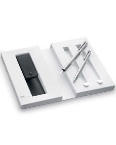 The LAMY Brushed Steel Logo Fountain and Ballpoint Pen Set with Pen Case in presentation box