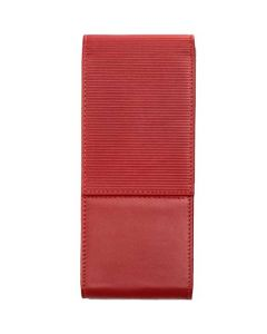 This Lamy 3 pen case is made from a red leather material.