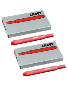The T10 LAMY red ink cartridges, suitable for all LAMY fountain pens excluding the 2000 range.