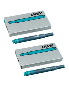 LAMY turquoise ink cartridges, suitable for all LAMY fountain pens excluding the 2000 range.