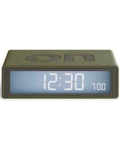 The Lexon Flip Travel+ Khaki Alarm Clock with electroluminescent display