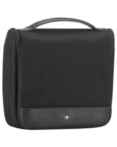The Montblanc NightFlight black wash bag with hanger.