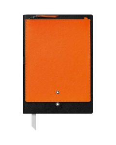 This is the Montblanc Black Fine Stationery #146 Notebook with Orange Pocket.