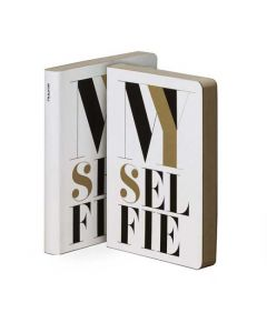 Graphic Leather Notebook, My Selfie, From The Graphic S Range By nuuna, Bold Typeface, White Bonded Leather Cover, Black & Gold Silk Screen Design.