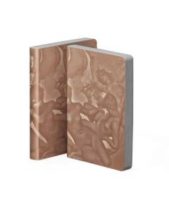nuuna, Paradise, Copper & White, Silkscreen print, Graphic Leather Notebook.