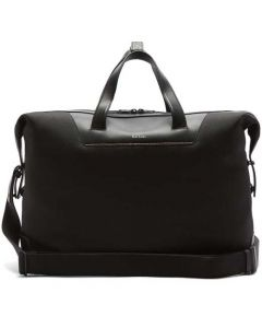 This is the Paul Smith Recycled Polyester Signature Stripe Trim Black Holdall.