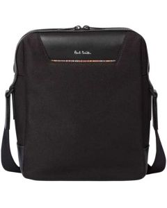 This is the Paul Smith Recycled Polyester Signature Stripe Trim Black Travel Flight Bag.