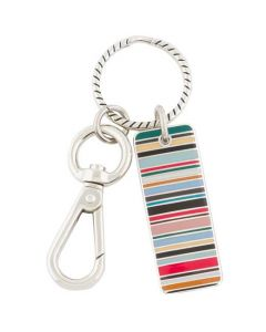 This is the Paul Smith Metal Tag Multicoloured Stripe Keyring.