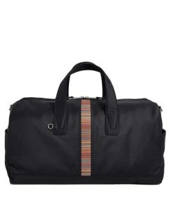This is the Paul Smith Canvas Black Holdall with Signature Stripe Detailing.