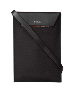 This is the Paul Smith Recycled Polyester Signature Stripe Trim Black Neck Pouch.