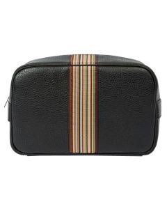 This is the Paul Smith Signature Stripe Centre Black Men's Wash Bag.
