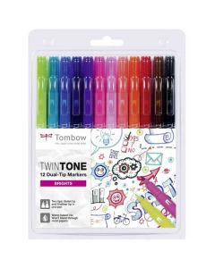 These are the Tombow 12 Dual Tip Twin-Tone Bright Markers.