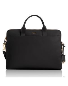 The TUMI, Voyageur Joanne Black Nylon Laptop Carrier is the perfect working woman's accessory featuring delicate gold trim and striking design