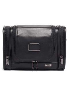 The TUMI Alpha 3 Black Leather Hanging Wash Bag