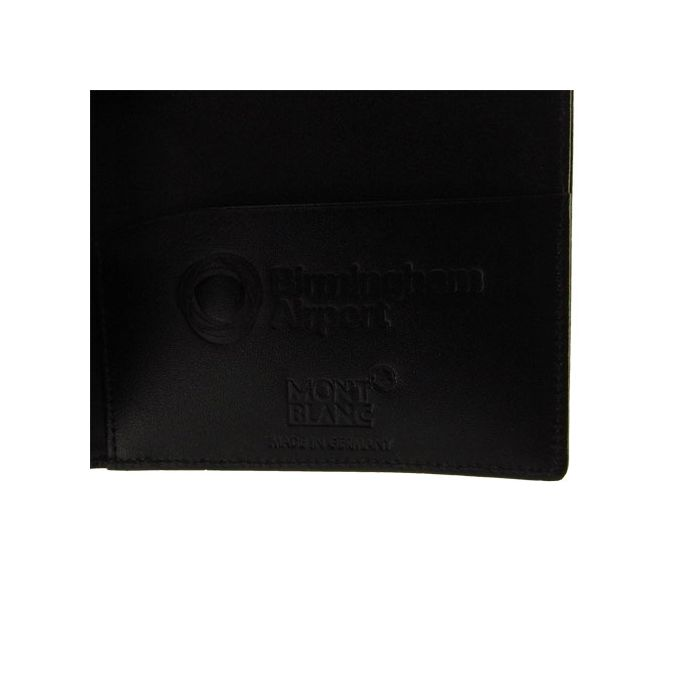 Montblanc passport case has been embossed with company logo.