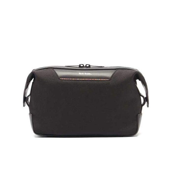 This is the Paul Smith Recycled Polyester Signature Stripe Trim Black Wash Bag.