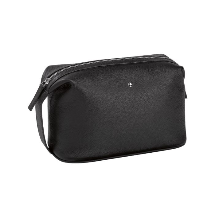 Montblanc Meisterstück black grainy leather wash bag.